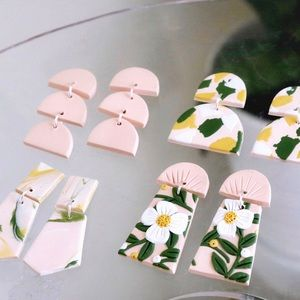 Polymer clay earring set of 4